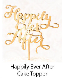 Golden Cake Topper reading Happily Ever After