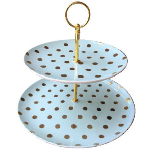 Chic Aqua Dotted Dessert Candy Tray
