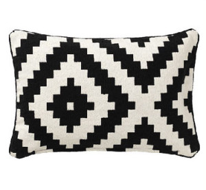Black Patterned Pillow Cotton Textile