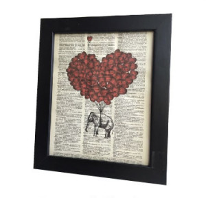 Black Frame Artwork Framed Elephant Heart