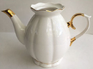 White Porcelain Gold Accent Teapot