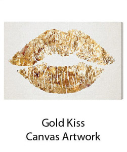 Gold Kiss Canvas Artwork White Background
