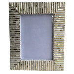 Picture Frame White & Gold Striped