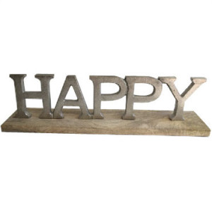 Happy Sign Silver letters Metal and Wooden Base