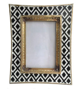 Black and White colored Photo Frame Golden Rim