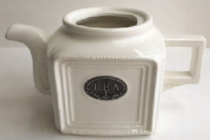 Square Teapot Porcelain Ivory Color