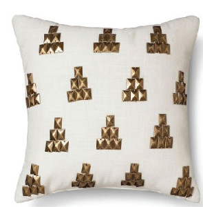 Gold Metallic Stud Pillow white color Cotton