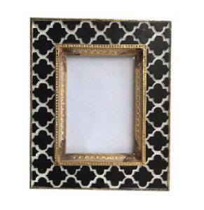 Black& White Tile Photo Frame Golden Rim