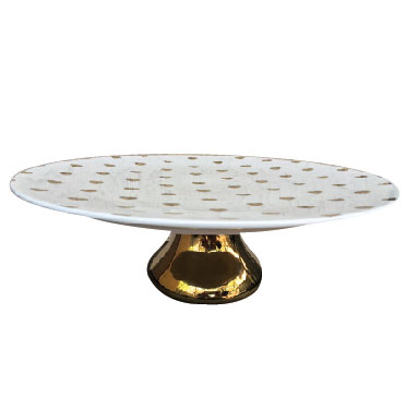 White and gold dotted golden base cake stand