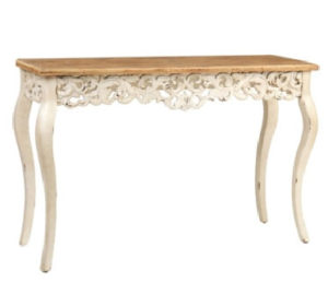 italian style console table wood top scroll design ivory legs