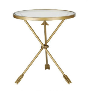 glass gold side table arrow metal